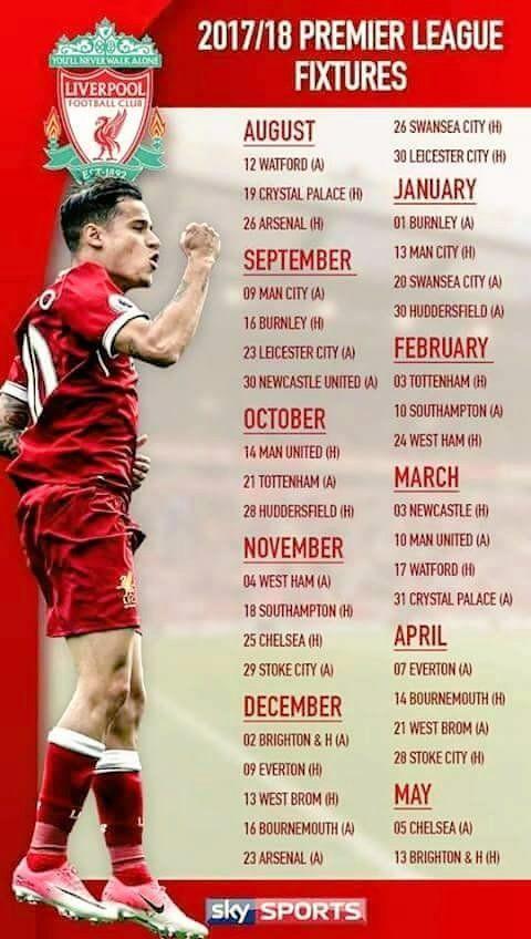 Liverpool FC Fixtures 2017/2018