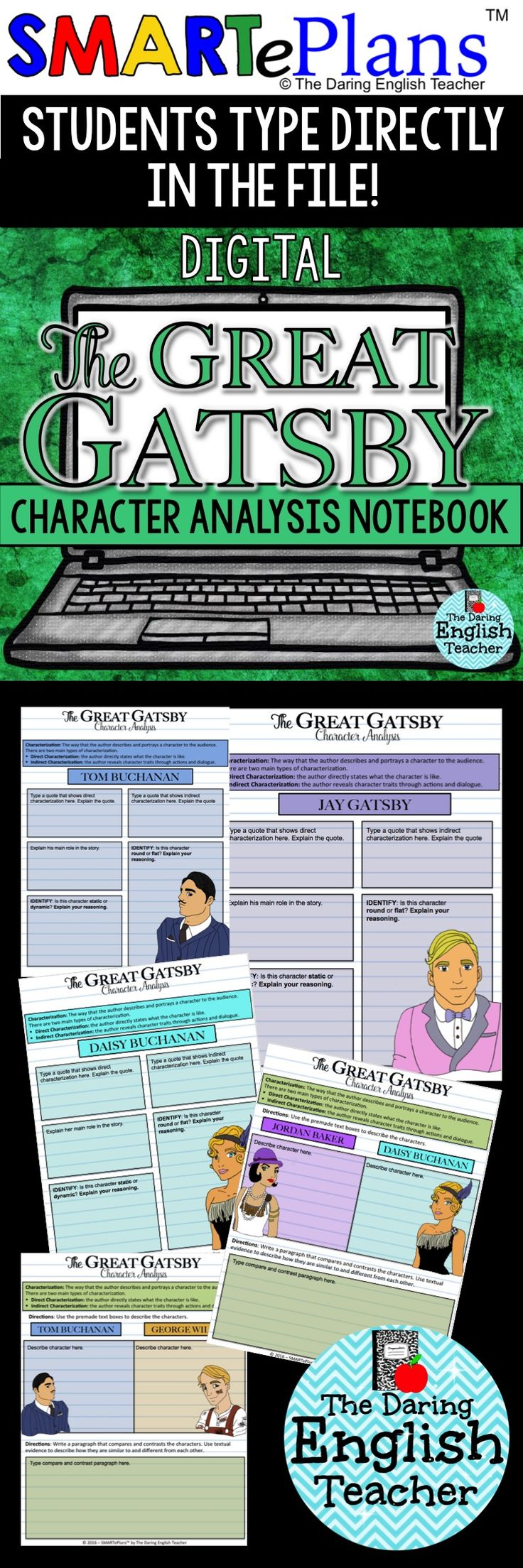 Digital The Great Gatsby character analysis notebook for Google Drive. Analyze each main character in The Great Gatsby. This activity is perfect for the digital or 1:1 high school English classroom.