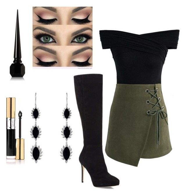 """""""Army green and black"""" by rainy-dayze ❤ liked on Polyvore featuring Chicwish, Meghna Jewels, Yves Saint Laurent, Jimmy Choo and Christian Louboutin"""