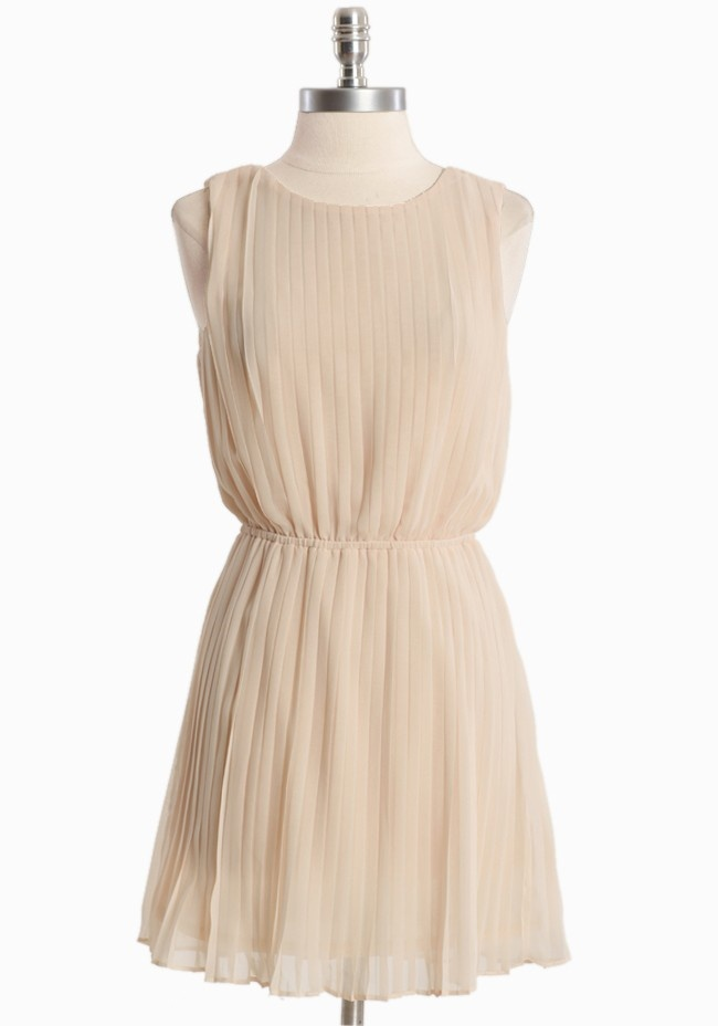 "@Andrea Knox rehearsal picnic?  Whispering Gardenia Pleated Dress 45.99 at shopruche.com. Create a dazzling statement in this cream dress designed in delicate chiffon. Polished with an alluring open back, an elasticized waist, and pleated detail for graceful movement. Fully lined.  100% Polyester, Imported, 33"" length from top of shoulders"