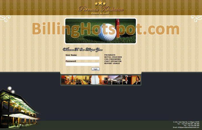 Tampilan halaman login hotspot pada Software Billing Hotspot untuk Hotel Permata Krakatau di Cilegon, Banten