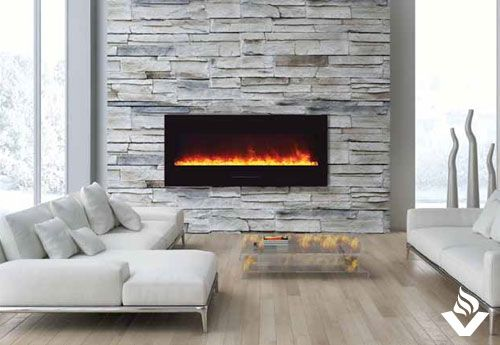 Various sizes to suit your needs, the Amantii line of wall-mount or flush-mount electric fireplaces features LED technology with 3 colour strips for gorgeous multi-colour flames.  These fireplaces come standard with black glass surround, log set, and 3 colours of media; additional options are available.
