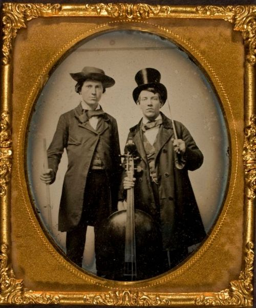 Occupation.  Two men and a cello ambrotype ca1860