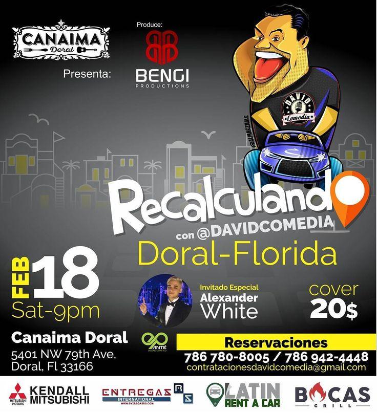 ¡Atención Doral! Pendientes porque @DAVIDCOMEDIA llega con su nuevo Show #RECALCULANDO el próximo 18 de febrero. Este evento está imperdible así que hagan sus reservaciones al 📲786.780.8005 / 786.942.4448. Nos sentimos orgullosos de apoyar el talento desde #BocasGrill