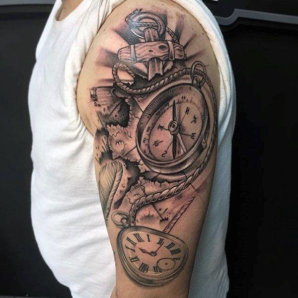 Upper Arm Compass Nautical Mens Tattoo Ideas Upper Arm Tattoos For Guys Tattoos For Guys Nautical Tattoo
