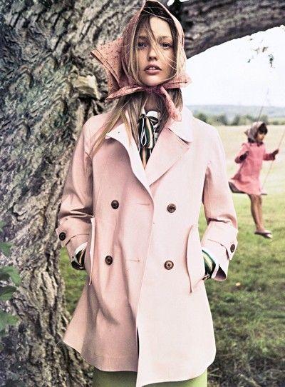 Pink: Mikael Jansson, Head Scarfs, November 2010, Vogue Paris, Paris November, Sasha Pivovarova, Scarves, Fashion Photography, Trench Coats