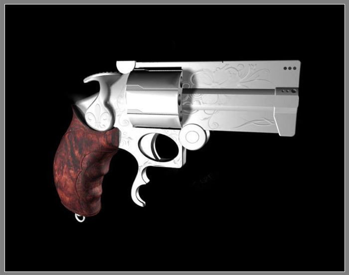 Bienville Studios -The new model LeMat revolver: a modern iteration of a classic New Orleans design. It is nine-shot center fire surrounding a twenty-gauge smooth bore shotgun barrel. The .38 caliber rifle barrel accepts all .38 caliber ammunition including .380 auto, 9 millimeter lugar, .38 special, .38 super and .357 magnum.