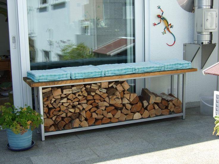 Gartenbänke - Gartenbank Sitzbank Kaminholzregal - ein Designerstück von steelking24 bei DaWanda
