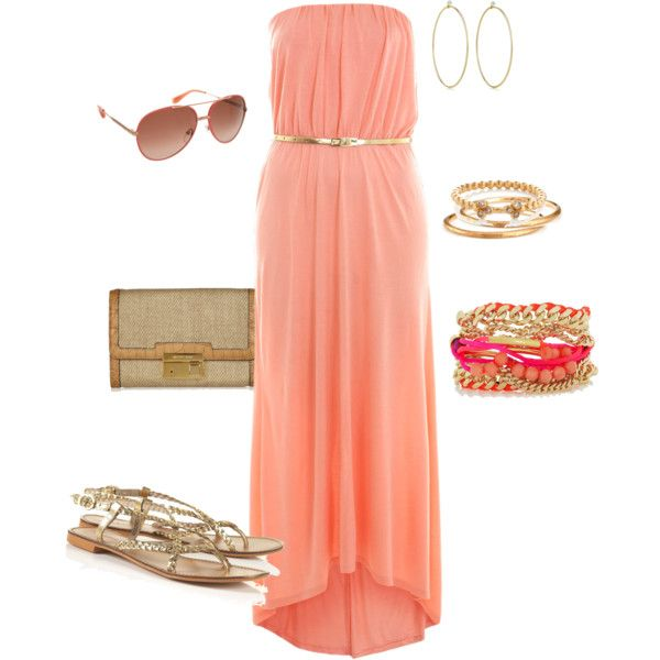 coral maxi- maybe with some aqua jewelry accents?