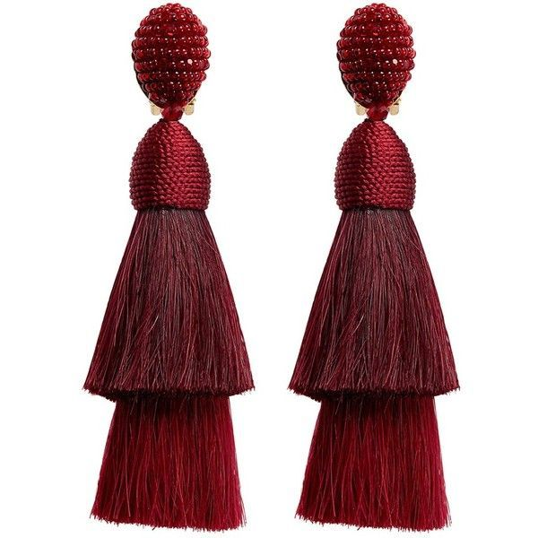 Oscar De La Renta Beaded horse hair tassel clip earrings found on Polyvore featuring jewelry, earrings, accessories, red, horse jewellery, oscar de la renta earrings, red earrings, red jewelry and cluster earrings
