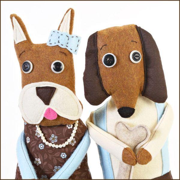 Babsy and Joseph Doll Gift Set - Handmade Dog Stuffed Animals - Jennifer D Burrell