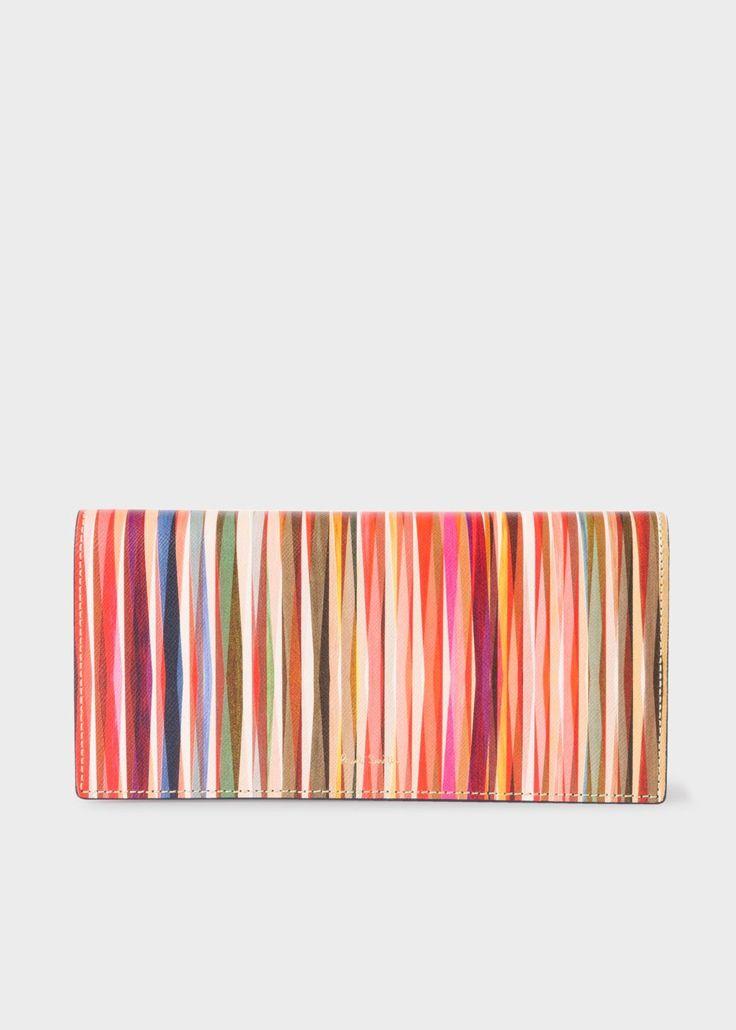 PAUL SMITH Women's 'Crossover Stripe' Print Leather Tri-Fold Purse. #paulsmith #