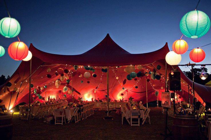 The paper lanterns on this tent combined with the circus like lights give a very intimate feel - Bo-Dee