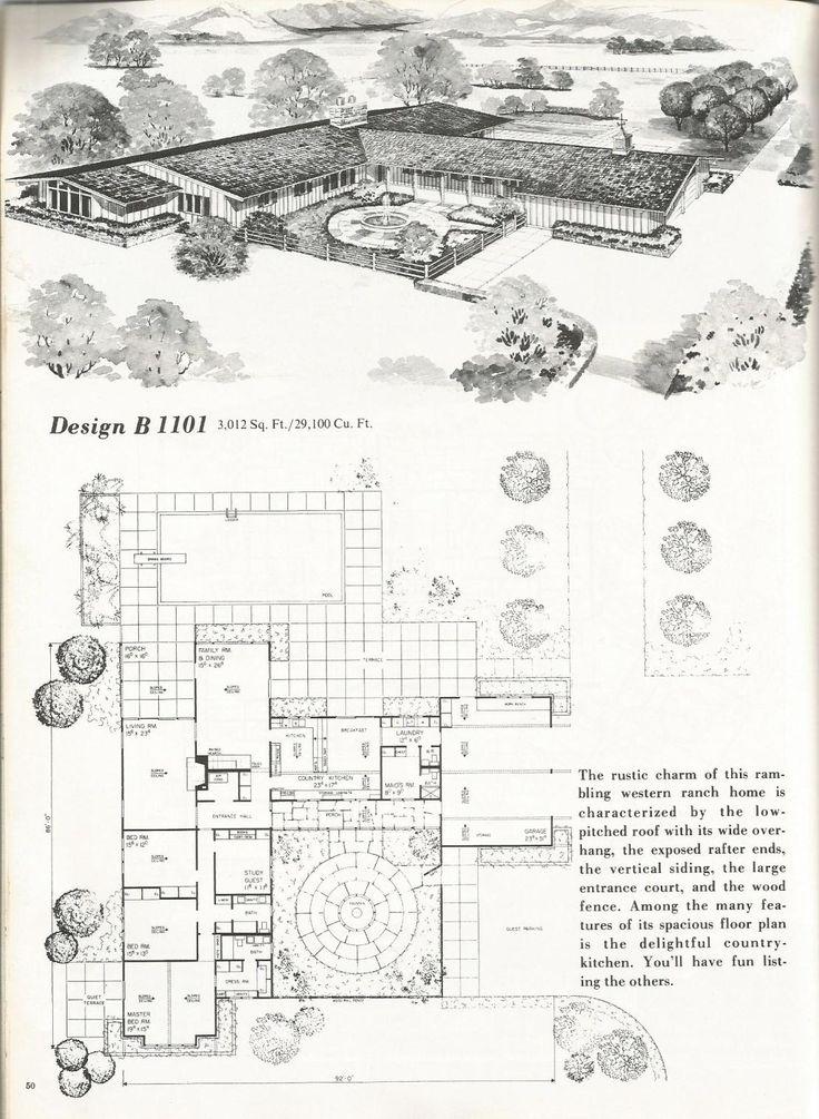 46 best house plans images on pinterest architecture for Vintage ranch house plans