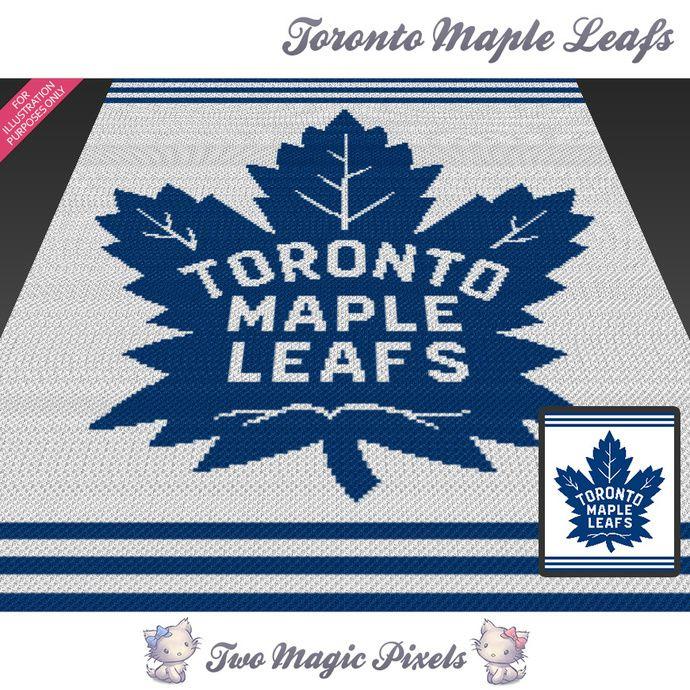 Toronto Maple Leafs crochet blanket pattern; cross stitch graph; pdf download;