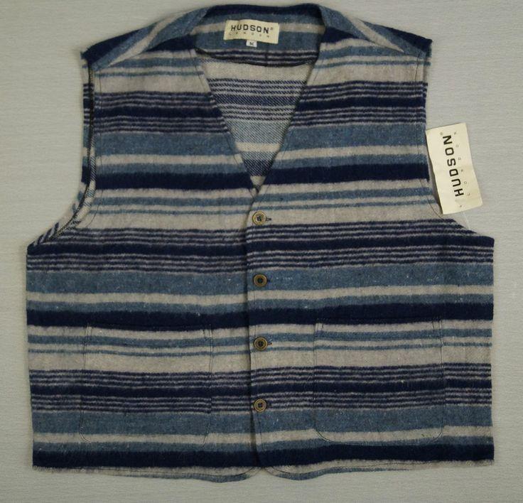 Mens Vintage Wool Waistcoat HUDSON Size M / L Grey Navy Blue Stripes