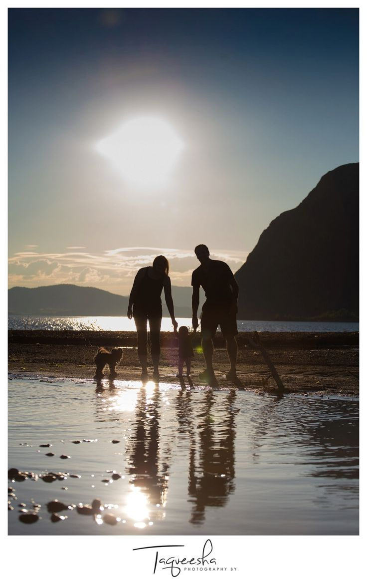 Kamloops Family Photographer, summer evening session. Beach family photos. Silhouette photo, family photos with a dog.