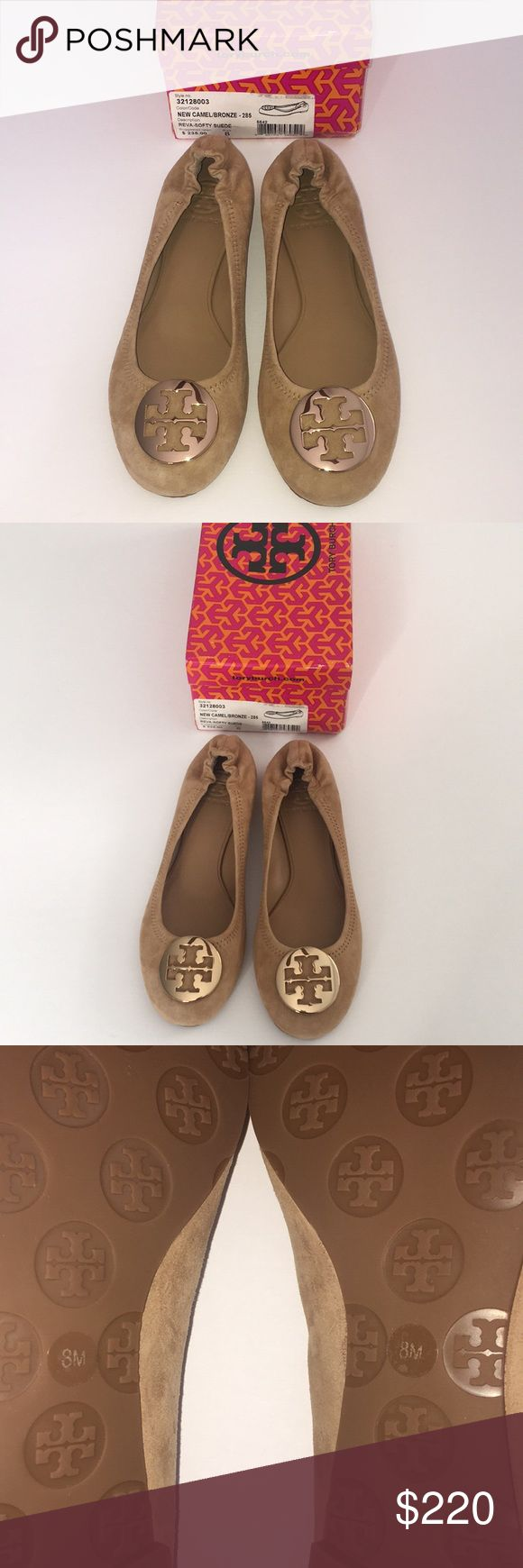 New Tory Burch Reva Ballet Flat Camel Suede Bronze New in box. Size 8.  Color: New camel/ bronze buckle  Reva Flat Ballet Slippers in Softy Suede.  Style # 32128003  Signature logo medallions accent the rounded toe of these Tory Burch Ballerina flats, crafted in lightly brushed suede. Leather upper and rubber sole. Elasticized back.   Feel free to bundle and make an offer! Tory Burch Shoes Flats & Loafers