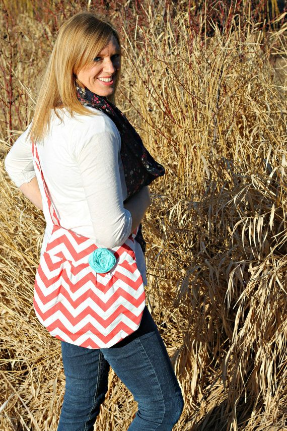 Small Coral Chevron Print Cross Body Handbag by SweetDaisyDesigns, $34.99