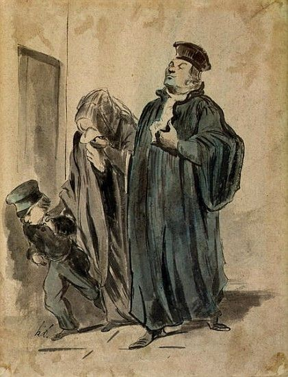 Image: (after) Honore Daumier - Judge, Woman and Child (ink on paper)