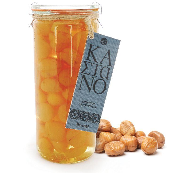 Γλυκό του κουταλιού κάστανο από ελληνικούς καρπούς. Σε επώνυμο γυάλινο βάζο ανώτερης ποιότητας, κατάλληλο για οικιακή χρήση. | Chestnut spoon sweet made from greek wrists.