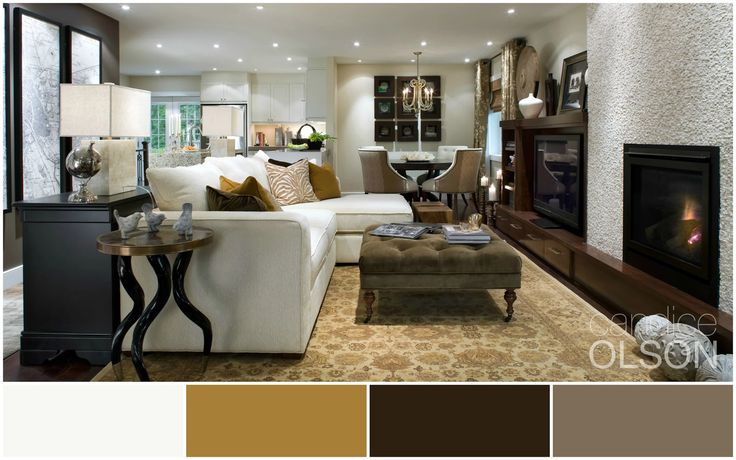 Photo: This earthy color palette is light, bright and refreshing. Pulling colors from the marble fireplace surround, we combined cream, caramel, putty, and chocolate to create an attitude of rustic-casual and modern-luxury.