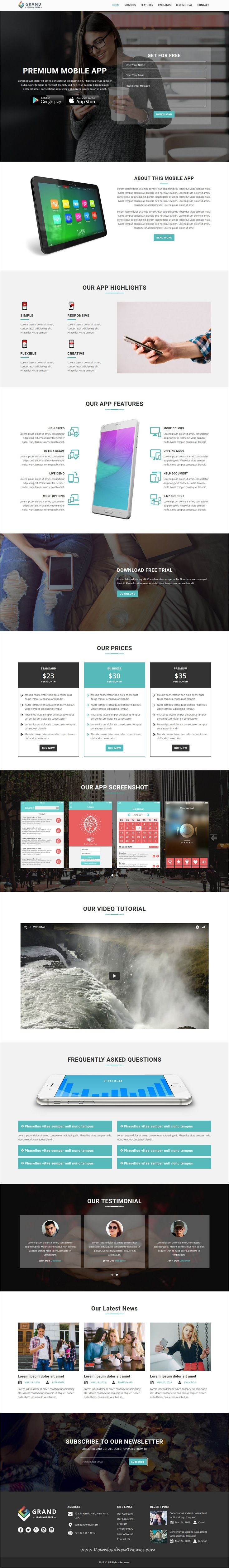 Grand is clean and modern design responsive multipurpose bootstrap #HTML5 template for stunning #app lead generating #landingpages #website with 75+ niche homepage layouts to live preview & download click on image or Visit 👆