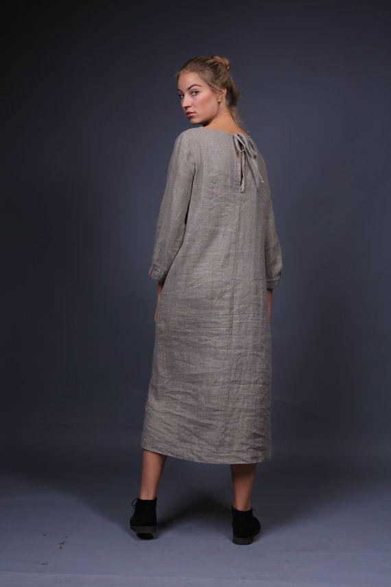 Linen tunic dress womens clothing dress for women by LinenCloud