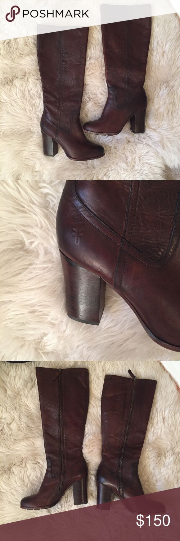 Brown heeled fry boots These kinda have a distressed look, but as you can tell from the bottom of the soles these haven't been worn too often. Just have been sitting in my closet! The leather is very soft and has aged well! Frye Shoes Heeled Boots
