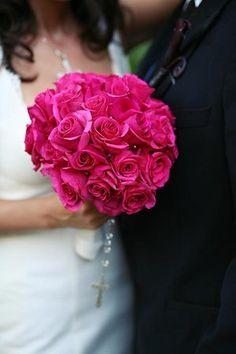 Breathtaking dark pink bridal bouquet of dark pink roses Throw away bouquet