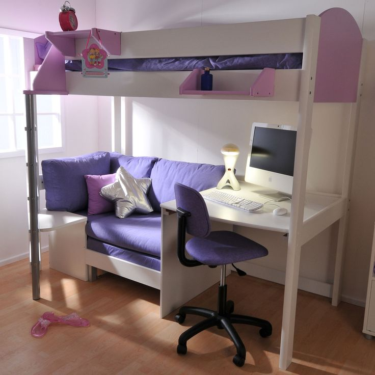 The Stompa Next Generation Casa 2a loft bed offers a place to sleep, relax and work. It features a rigid bedframe with sleeping bunk, with a desk and sofa bed below. The top bunk is accessed via a tubular metal and wood ladder which can be set-up, along with the sofa and desk, on either end of the bed, as required. The bedframe is made from solid Scandinavian pine, with either a natural finish or in white, and the header and footer boards are made from modern MDF in a choice of colours.