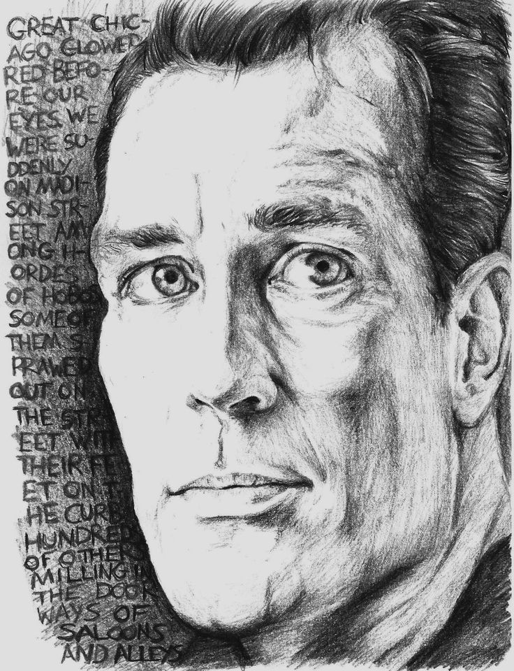 """Pencil sketch of Jack Kerouac, author of """"On the Road"""""""