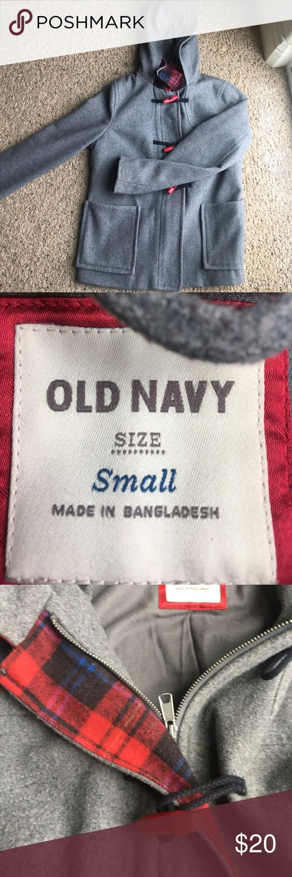 Old Navy Pea coat! Like new pea coat! Very warm and comfy. Has red accent buttons along with a plaid accent along zipper. MAKE OFFERS Old Navy Jackets & Coats Pea Coats