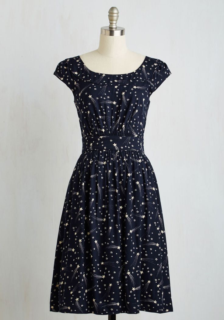 Day After Day A-Line Dress in Shooting Stars. This pocketed dress by hard-to-find British brand Emily and Fin will lift your spirits when you need it! #blue #modcloth
