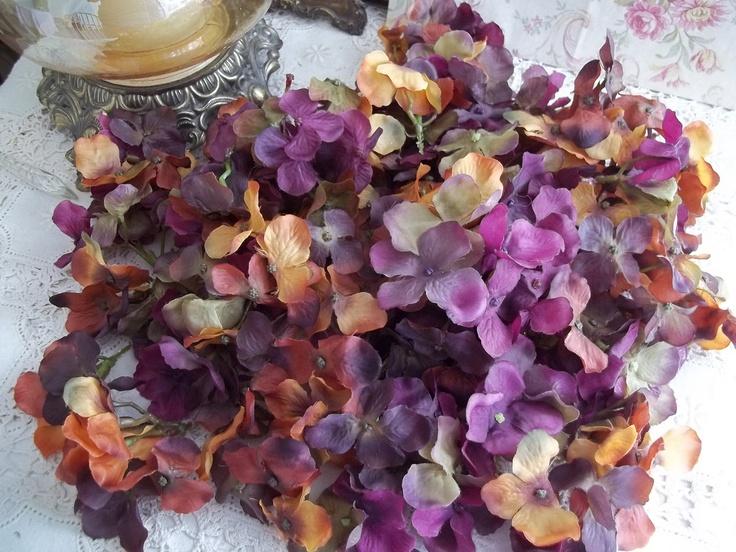 I ❤ ribbonwork . . . Vintage Purple Velvet Flowers Hydrangea-