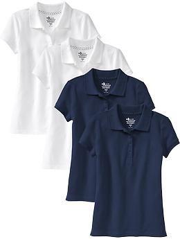 Girls Uniform Polo 4-Packs