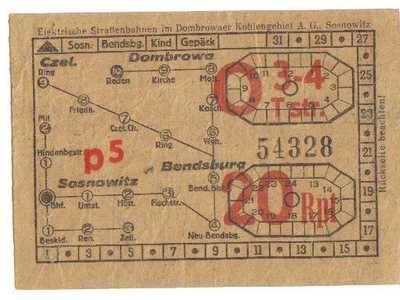bilety tramwajowe  z czasów II Wojny światowej  Będzin