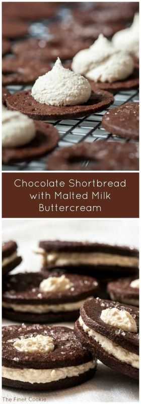Chocolate Shortbread with Malted Milk Buttercream