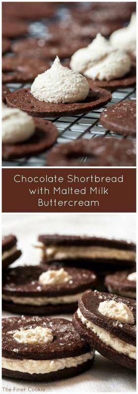 Chocolate Shortbread with Malted Milk Buttercream