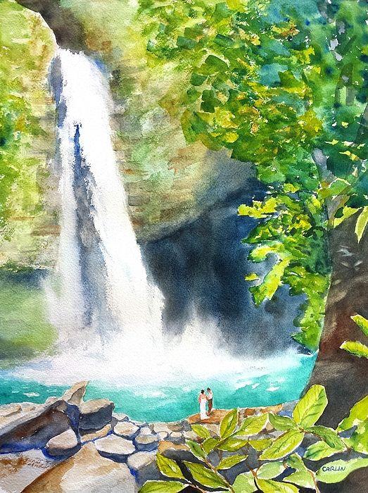как нарисовать картинки водопадов с камнями одноэтажного