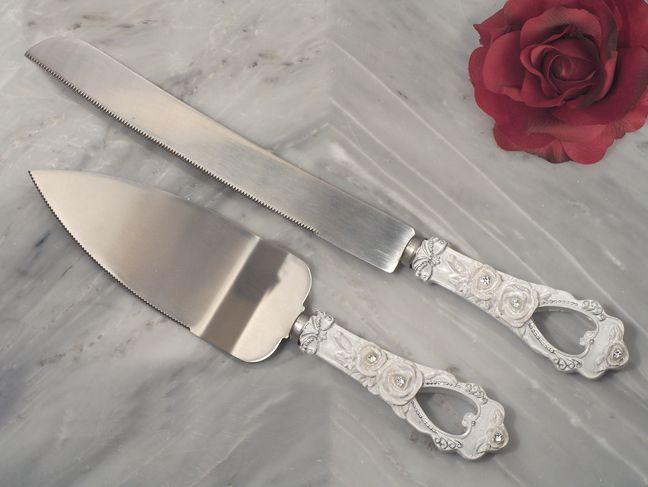 Elegant Rose Collection Cake And Knife Set