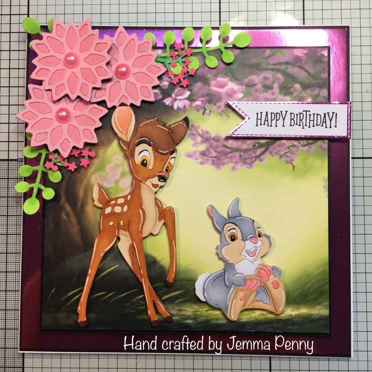 Disney Bambi dies and paper pad - Bami and Thumper coloured with Copics