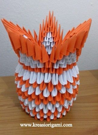 origami 3D vas bunga orange putih