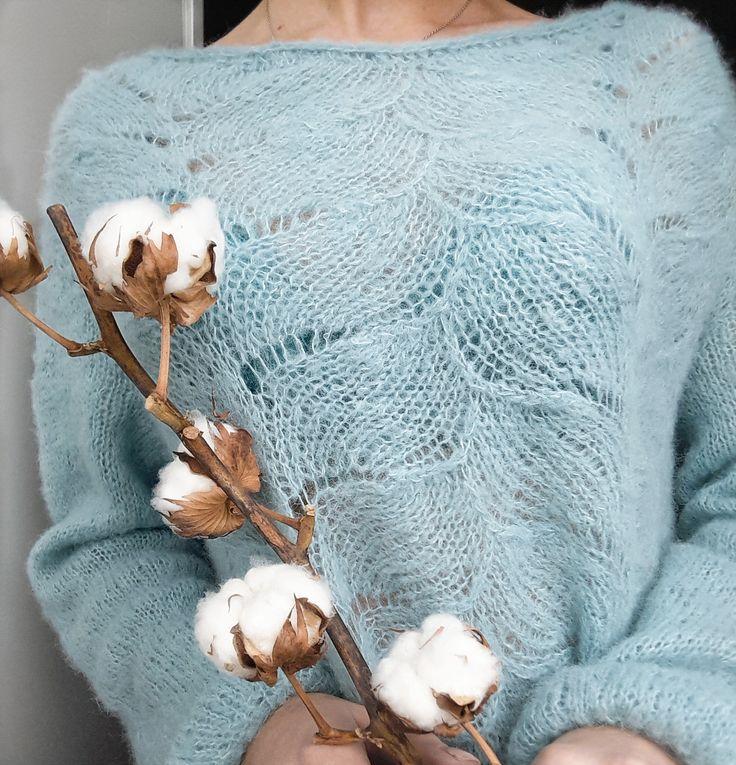 light blue mint wool alpaca sweater for women winter 2018