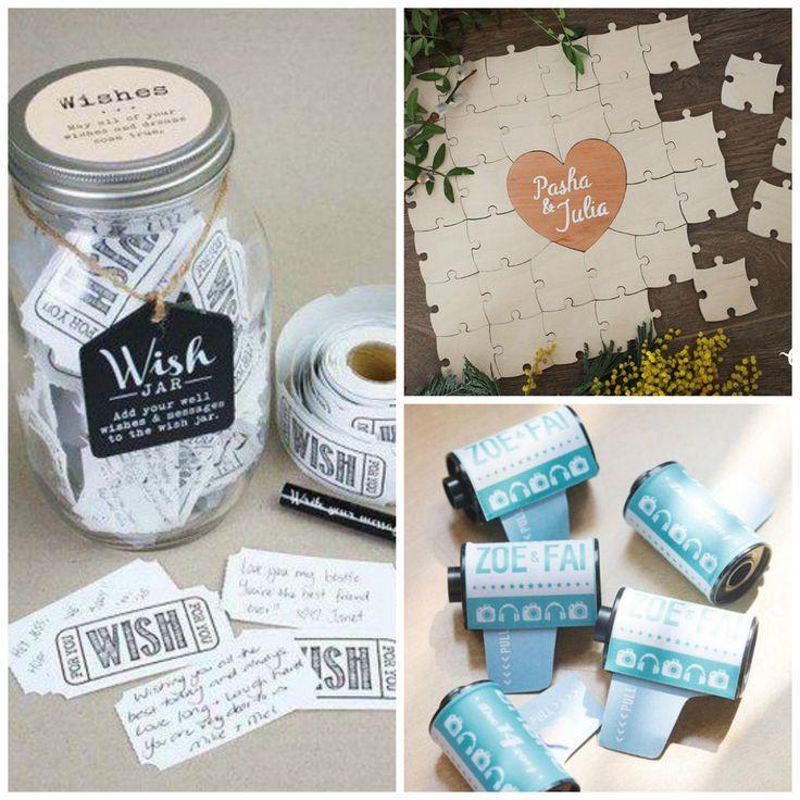 Collection of creative wedding guestbook ideas.