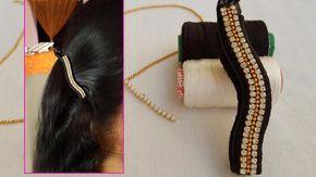 How to make silk thread banana hair clip   DIY #banana hair clip at home
