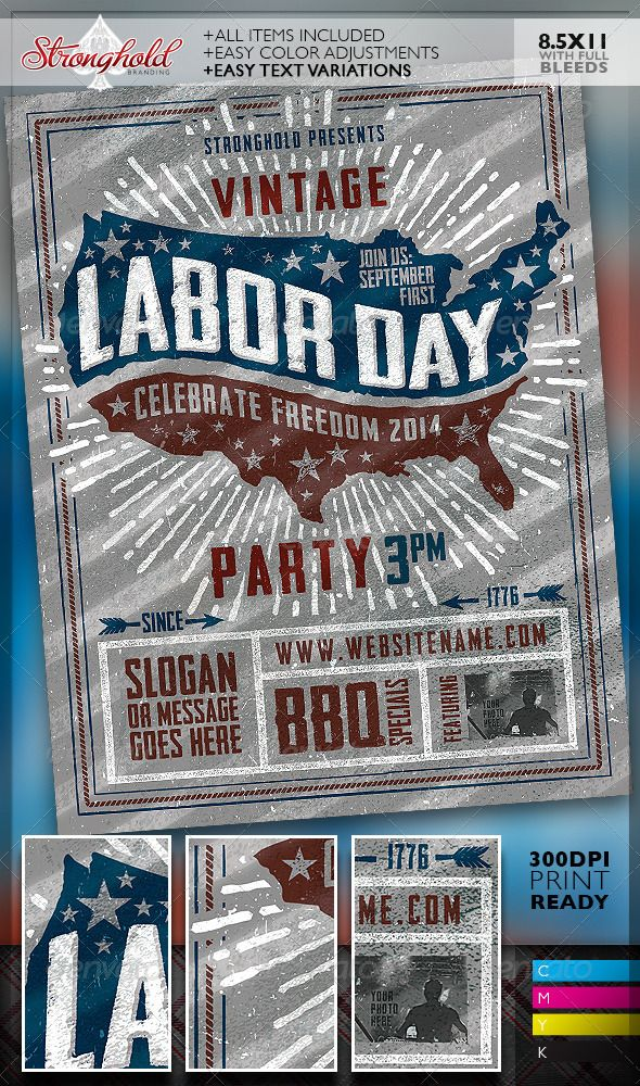 Vintage Labor Day Woodcut Flyer Template