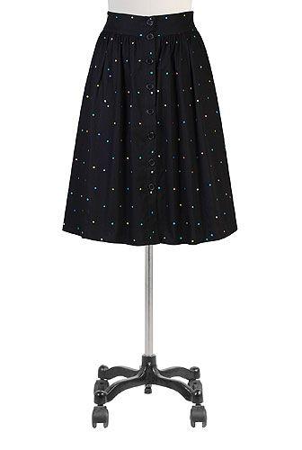 eShakti Button front candy dot skirt
