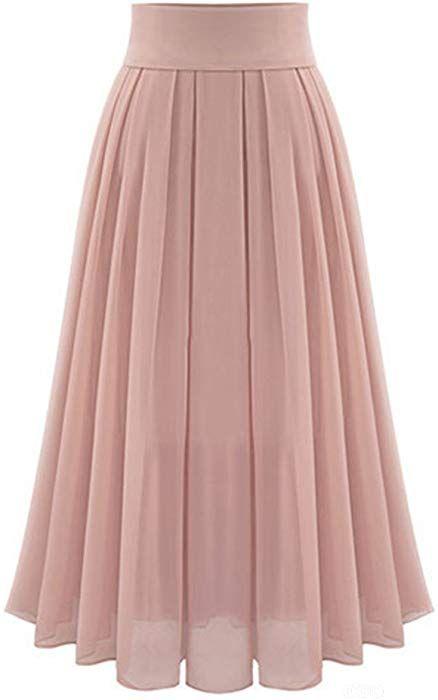 156317a2cfb252 LOVEBEAUTY Women's Elegant Chiffon Long Maxi Skirt Pink M at Amazon Women's  Clothing store: