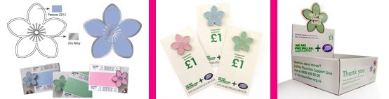 Macmillan Flower #pin #badges and POS Box. Produced by IMI.